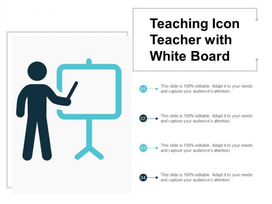 Teaching Icon Teacher With White Board Ppt PowerPoint Presentation Inspiration