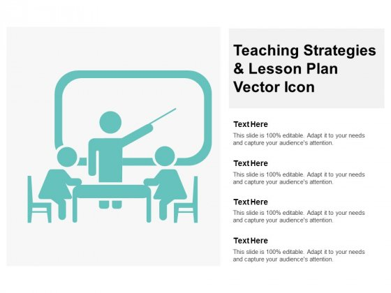 Teaching Strategies And Lesson Plan Vector Icon Ppt PowerPoint Presentation Slides Deck