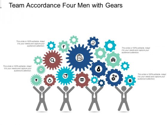 Team Accordance Four Men With Gears Ppt Powerpoint Presentation Infographics Ideas