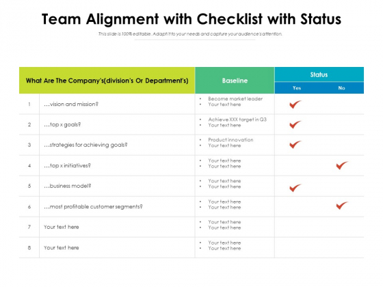 Team Alignment With Checklist With Status Ppt PowerPoint Presentation Gallery Objects PDF