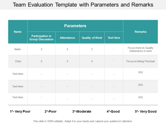 team evaluation template with parameters and remarks ppt powerpoint presentation outline graphics