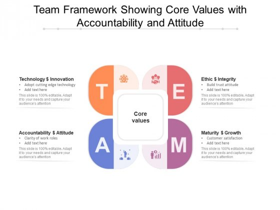 Team_Framework_Showing_Core_Values_With_Accountability_And_Attitude_Ppt_PowerPoint_Presentation_File_Graphics_PDF_Slide_1