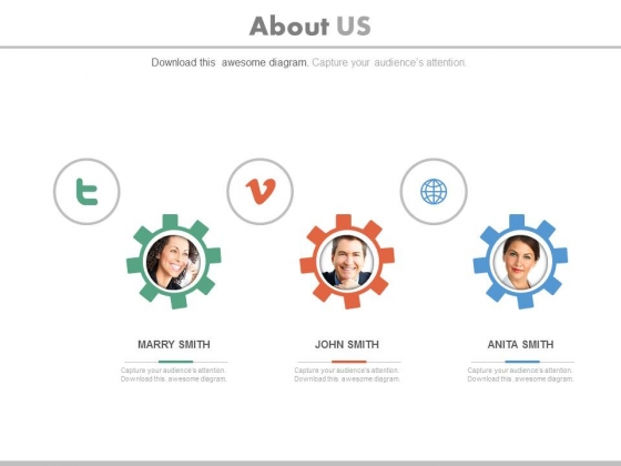 Team Gears Design With Social Media Icons Powerpoint Slides