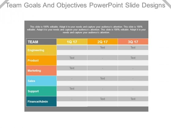 Team Goals And Objectives Powerpoint Slide Designs