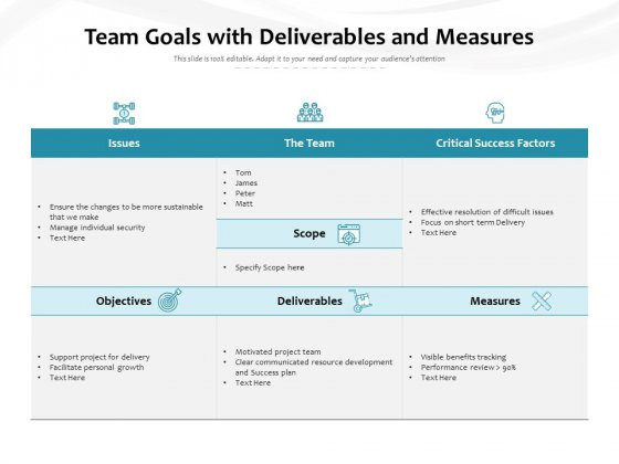 Team Goals With Deliverables And Measures Ppt PowerPoint Presentation Professional Show PDF