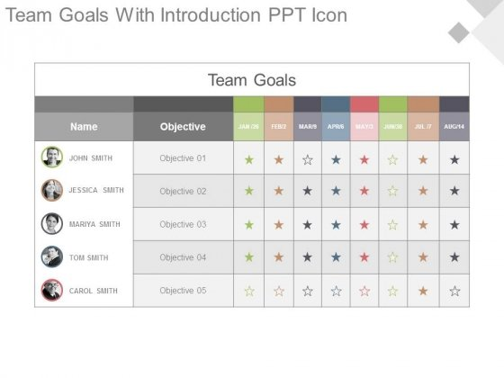 Team Goals With Introduction Ppt Icon