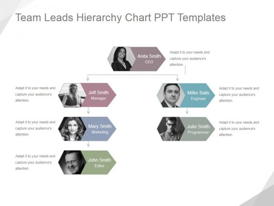 Team Leads Hierarchy Chart Ppt PowerPoint Presentation Ideas