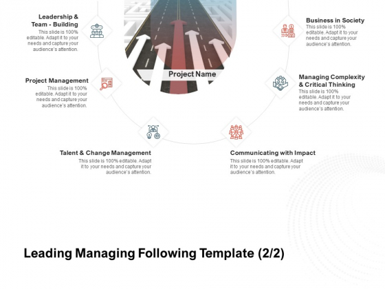 Team Manager Administration Leading Managing Following Template Project Management Slides Pdf