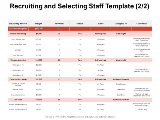Team Manager Administration Recruiting And Selecting Staff Template Comments Formats Pdf