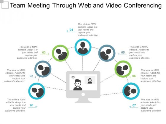 Team Meeting Through Web And Video Conferencing Ppt PowerPoint Presentation File Graphics Template
