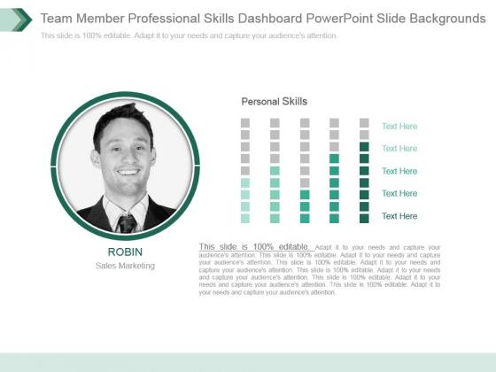 Team Member Professional Skills Dashboard Powerpoint Slide Backgrounds