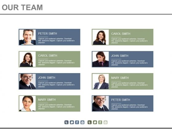 Team Members Chart With Profile Details Powerpoint Slides