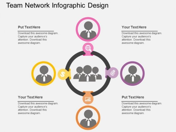 Team Network Infographic Design Powerpoint Templates