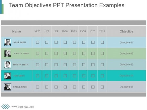 Team Objectives Ppt Presentation Examples - PowerPoint Templates
