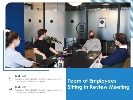 Team Of Employees Sitting In Review Meeting Ppt PowerPoint Presentation File Design Ideas PDF