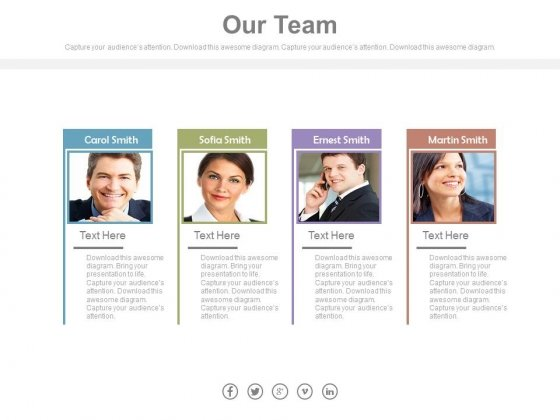 Team Of Four Employees With Pictures Powerpoint Slides