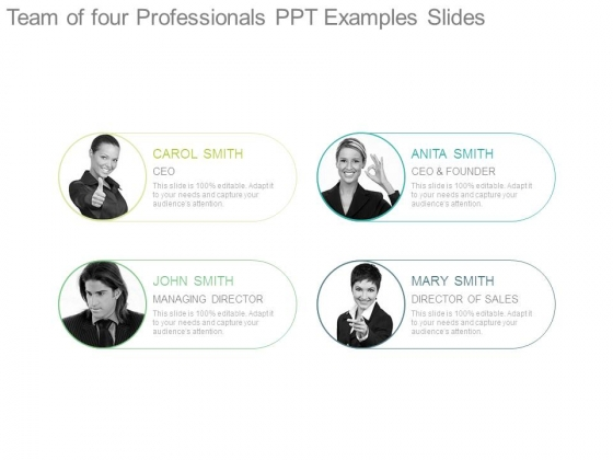 Team Of Four Professionals Ppt Examples Slides