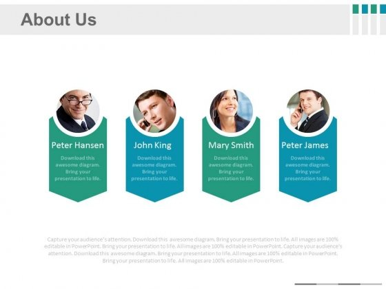 Team Photos About Us Details Powerpoint Slides
