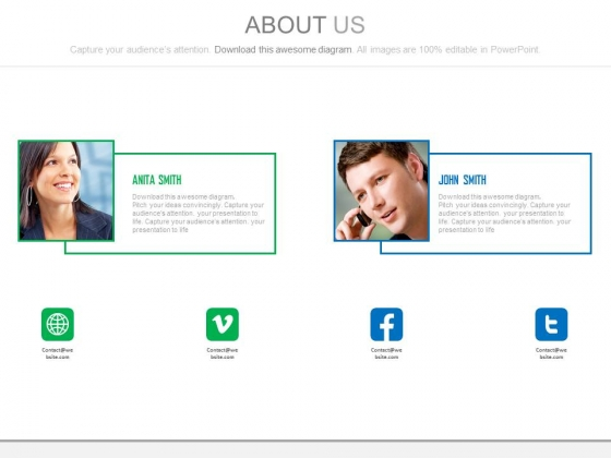 Team Profile For Social Media Communication Powerpoint Slides