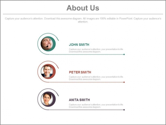 Team Profiles For About Us Slide Powerpoint Slides