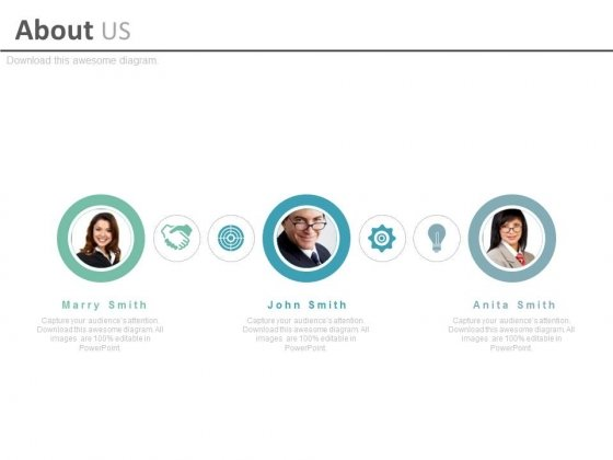 Team Profiles With Business Icons Powerpoint Slides