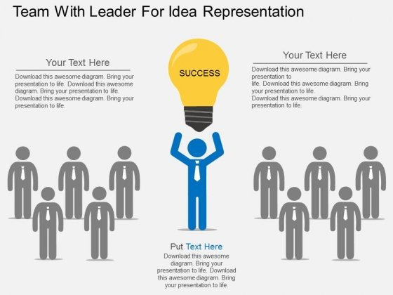 Team With Leader For Idea Representation Powerpoint Template