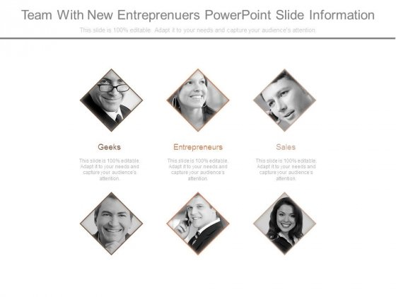Team With New Entreprenuers Powerpoint Slide Information