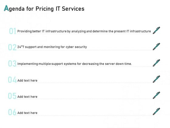 Tech Support Services Cost And Pricing Agenda For Pricing IT Services Ppt PowerPoint Presentation Summary Diagrams