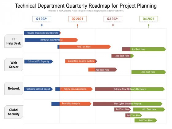 Technical Department Quarterly Roadmap For Project Planning Background