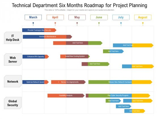 Technical Department Six Months Roadmap For Project Planning Summary