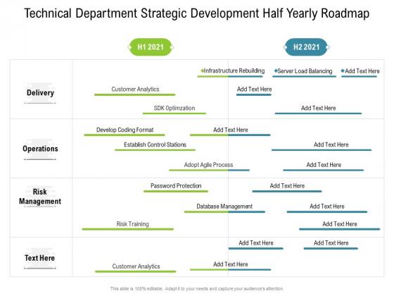 Technical Department Strategic Development Half Yearly Roadmap Portrait
