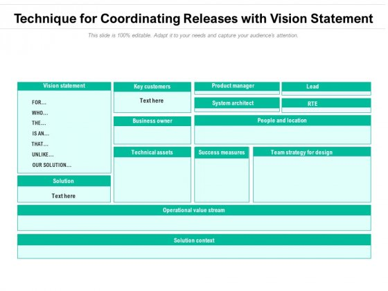 Technique For Coordinating Releases With Vision Statement Ppt PowerPoint Presentation File Layout Ideas PDF