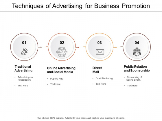 Techniques Of Advertising For Business Promotion Ppt PowerPoint Presentation Slides Background Image
