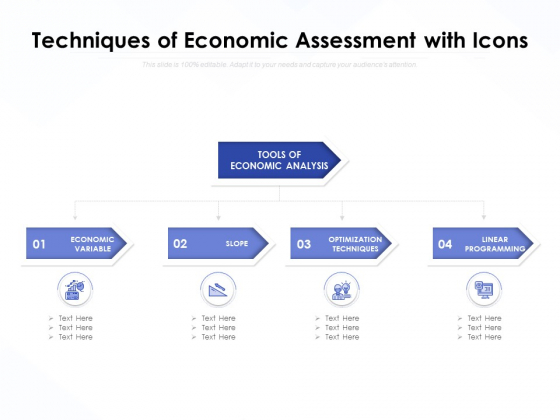 Techniques Of Economic Assessment With Icons Ppt PowerPoint Presentation Infographic Template Slide Portrait PDF