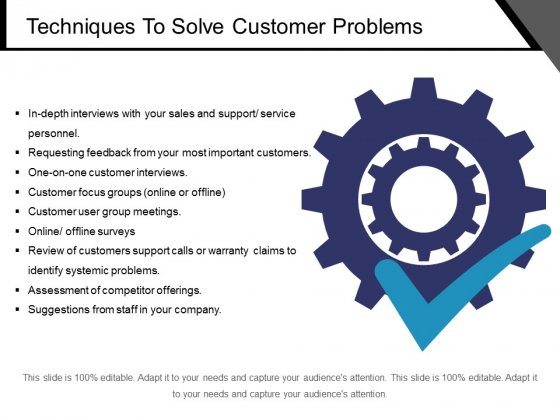 Techniques To Solve Customer Problems Ppt PowerPoint Presentation Pictures Infographics