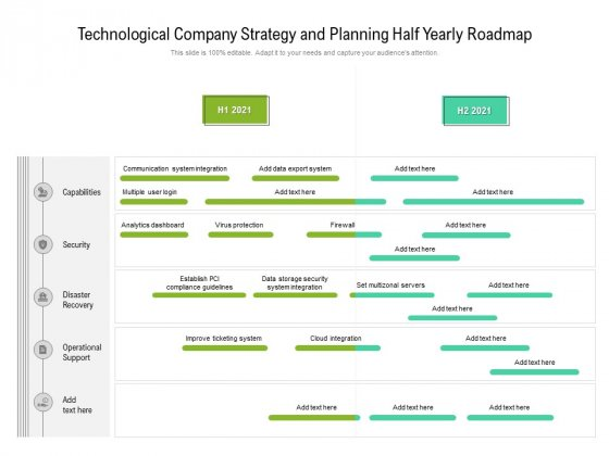 Technological Company Strategy And Planning Half Yearly Roadmap Template