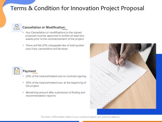Technological Innovation Project Terms And Condition For Innovation Project Proposal Pictures PDF