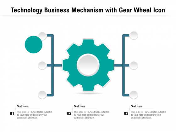 Technology Business Mechanism With Gear Wheel Icon Ppt PowerPoint Presentation File Portrait PDF