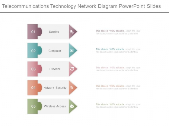 Telecommunications Technology Network Diagram Powerpoint Slides