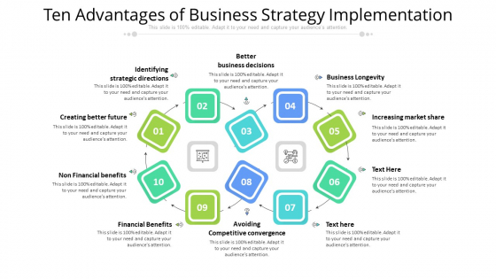 Ten Advantages Of Business Strategy Implementation Ppt PowerPoint Presentation Gallery Brochure PDF