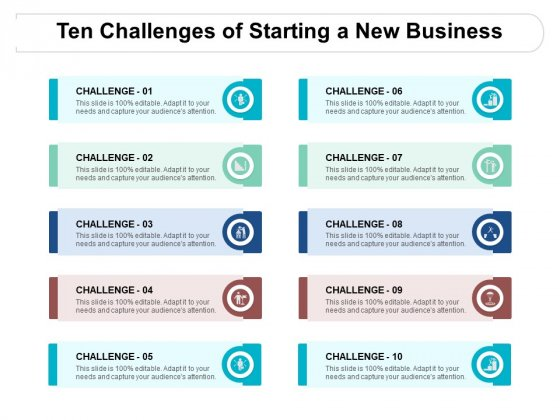 Ten Challenges Of Starting A New Business Ppt PowerPoint Presentation Infographic Template Example 2015