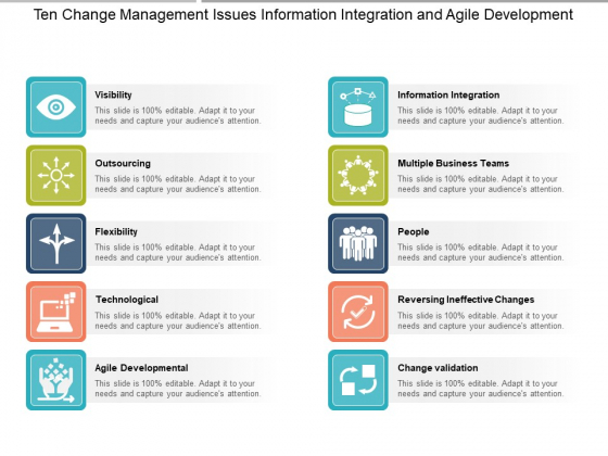 Ten Change Management Issues Information Integration And Agile Development Ppt PowerPoint Presentation Pictures Icons