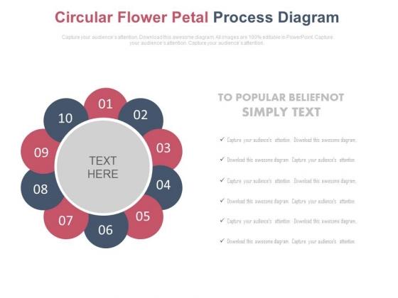 Ten Circular Petals Business Process Diagram Powerpoint Slides