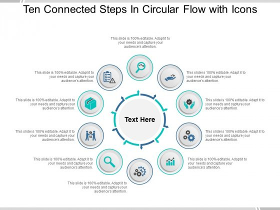 Ten Connected Steps In Circular Flow With Icons Ppt PowerPoint Presentation Gallery Examples