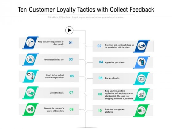 Ten Customer Loyalty Tactics With Collect Feedback Ppt PowerPoint Presentation File Tips PDF