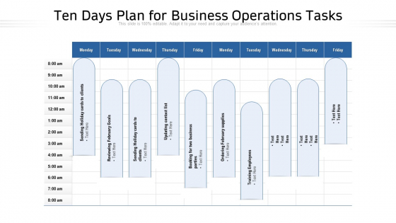 Ten Days Plan For Business Operations Tasks Ppt PowerPoint Presentation Gallery Display PDF