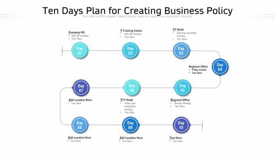 Ten Days Plan For Creating Business Policy Ppt PowerPoint Presentation Gallery Slide PDF