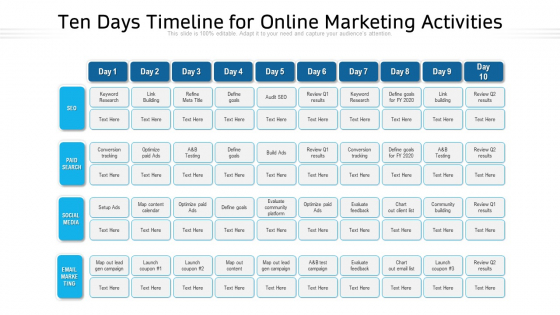 Ten Days Timeline For Online Marketing Activities Ppt PowerPoint Presentation File Clipart Images PDF