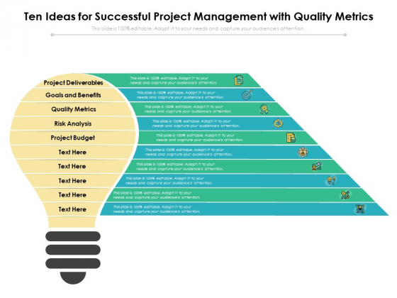 Ten Ideas For Successful Project Management With Quality Metrics Ppt PowerPoint Presentation Layouts Slide Download PDF