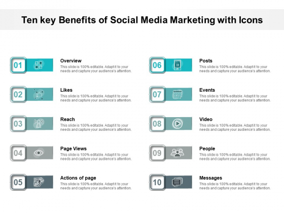 Ten Key Benefits Of Social Media Marketing With Icons Ppt PowerPoint Presentation Inspiration Graphics Design PDF